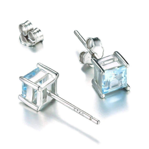 Feshionn IOBI Earrings Ice Blue Genuine Topaz Princess Cut 0.7 CT IOBI Precious Gems Stud Earrings