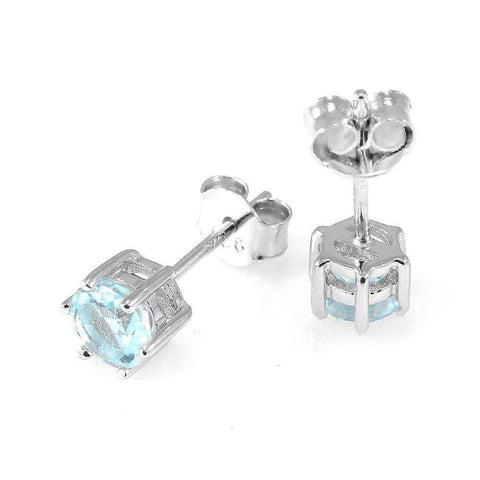 Feshionn IOBI Earrings Ice Blue Genuine Topaz Round 1.2 CTW IOBI Precious Gems Stud Earrings