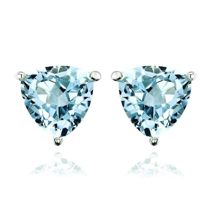 Feshionn IOBI Earrings Ice Blue Trillion Earrings Ice Blue Genuine Topaz Trillion Cut 1.8 CT IOBI Precious Gems Stud Earrings