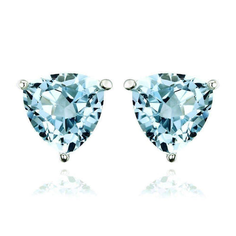 Feshionn IOBI Earrings Ice Blue Genuine Topaz Trillion Cut 1.8 CT IOBI Precious Gems Stud Earrings