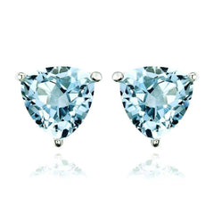 Ice Blue Genuine Topaz Trillion Cut 1.8 CT IOBI Precious Gems Stud Earrings