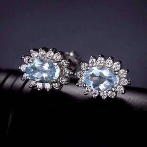 Feshionn IOBI Earrings Ice Blue Halo Earrings French Blue Halo 1CTW Genuine Topaz IOBI Precious Gems Earrings