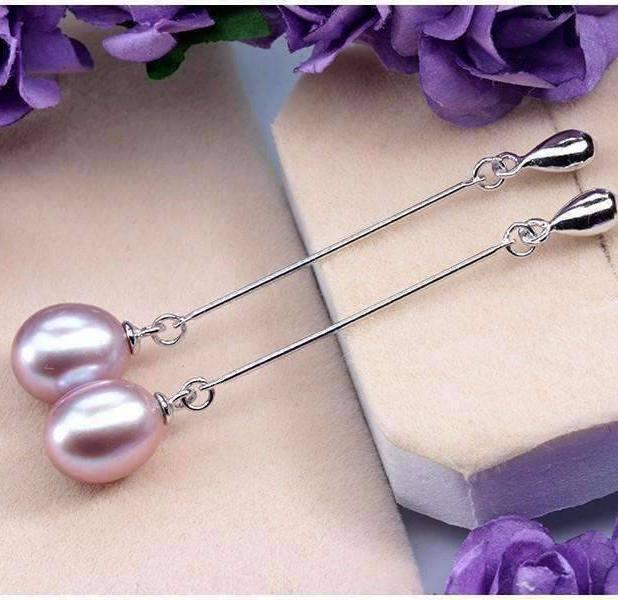Feshionn IOBI Earrings Earrings Lavender Freshwater Pearl Sterling Silver Bar Drop Earrings