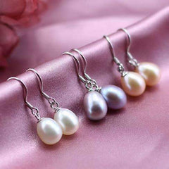Feshionn IOBI Earrings Lavender Genuine Freshwater Pearl Drop Earrings