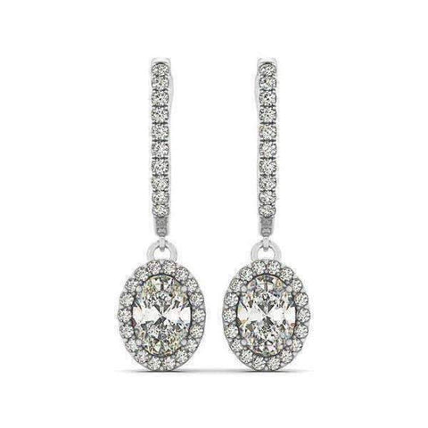 Feshionn IOBI Earrings Léandra 3CT Oval Halo IOBI Cultured Diamond Earrings