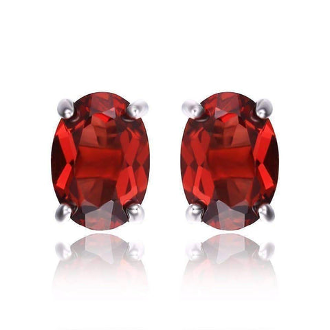 Feshionn IOBI Earrings Legacy Garnet Oval Cut Genuine 1.6CT IOBI Precious Gems Stud Earrings