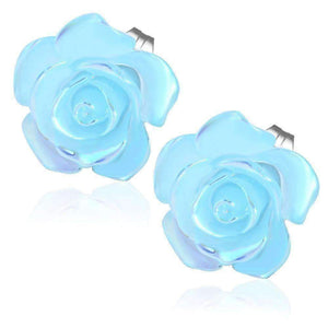 Feshionn IOBI Earrings Light Blue CLEARANCE - Light Blue Rose Stud Earrings