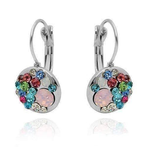 Feshionn IOBI Earrings Light Pink Stone Party Confetti Austrian Crystal White Gold Plated Leverback Earrings
