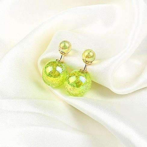 Feshionn IOBI Earrings Lime Marbled Bowling Pin Reversible Pearl Earrings - Nine Funky Colors to Choose!