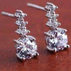 "Feshionn IOBI Earrings Platinum ""Little Dipper"" IOBI Crystals Stud Earrings"