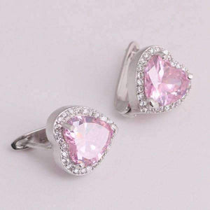 Feshionn IOBI Earrings Magnificent Halo Heart Leverback Earrings in Clear, Pink or Blue Sapphire