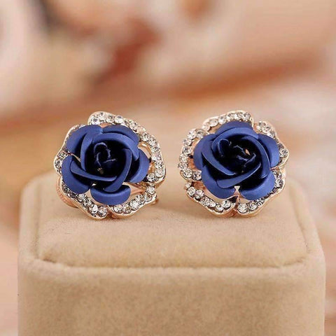 Feshionn IOBI Earrings Midnight Blue Golden Reflections Metallic Rose Lever Back Stud Earrings - in Four Colors