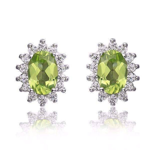 Feshionn IOBI Earrings Milan Green Halo Oval Cut 1CTW Genuine Peridot IOBI Precious Gems Earrings