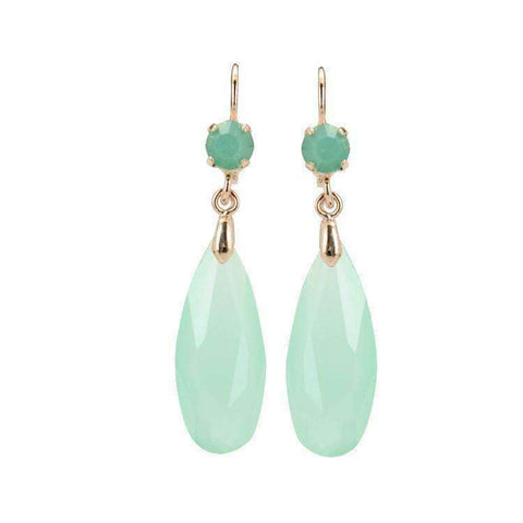 Feshionn IOBI Earrings Mint Green Fascinating Long Teardrop Bead and CZ Dangle Earrings ~ Six Colors to Choose!