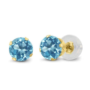 Feshionn IOBI Earrings Natural Blue 1.20CTW Genuine Natural Blue Topaz IOBI Precious Gems Stud Earrings