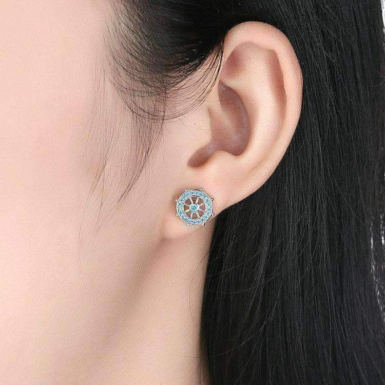 Feshionn IOBI Earrings Silver Nautical Adventure Blue Topaz Irregular Sterling Silver Stud Earrings