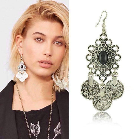 Feshionn IOBI Earrings Noble Roman Dangling Coin Chandelier Earrings