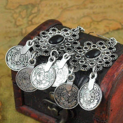 Noble Roman Dangling Coin Chandelier Earrings