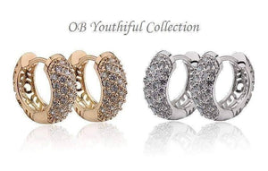 Feshionn IOBI Earrings OB Youthful Collection - Petite Diamond Pave Platinum or 18K Yellow Gold Filigree Hoop Earrings