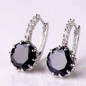 Feshionn IOBI Earrings Obsidian Black on White Gold Exotic Gems CZ Solitaire Hoop Earrings