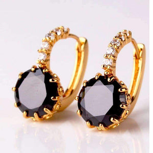Feshionn IOBI Earrings Obsidian Black on Yellow Gold Exotic Gems CZ Solitaire Hoop Earrings