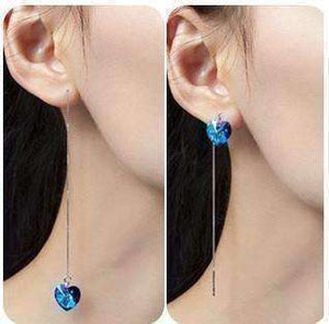 Feshionn IOBI Earrings ON SALE - Aqua Blue Austrian Crystal Heart Silver Thread Earrings
