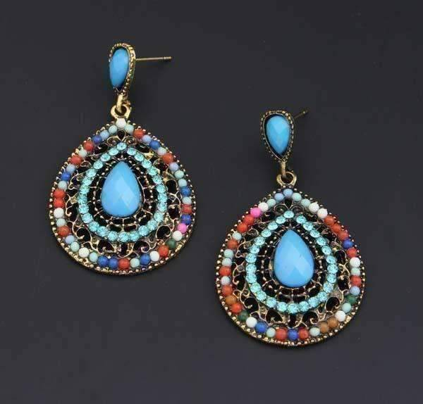 Feshionn IOBI Earrings Aqua ON SALE - Beaded Filigree Drop Earrings in Aqua