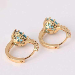 Feshionn IOBI Earrings ON SALE - Blue Topaz CZ Solitaire Gold Plated Hoops