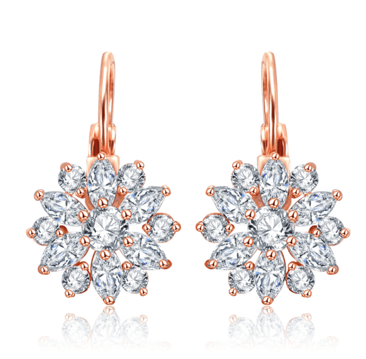 Feshionn IOBI Earrings Clear on Platinum Plated ON SALE - Brilliant Austrian Crystal Flower Earrings