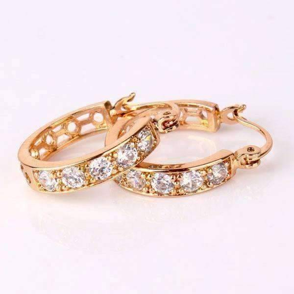 Feshionn IOBI Earrings Yellow Gold plated ON SALE - Channel Set CZ and Filigree Hoop Earrings