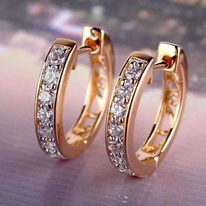 Feshionn IOBI Earrings ON SALE - Channel Set Sparkly CZ Diamond Petite Hoop Earrings