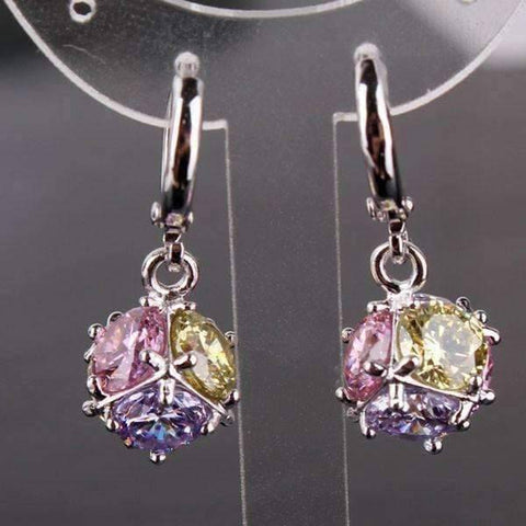 Feshionn IOBI Earrings ON SALE - Crystal Cube Dangling Charm Earrings