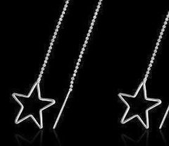 CLEARANCE - Edgy Wired Star Outline Silver Thread Earrings