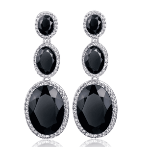 Feshionn IOBI Earrings ON SALE - Evening Elegance Triple Crystal Drop Earrings - Two Colors To Choose