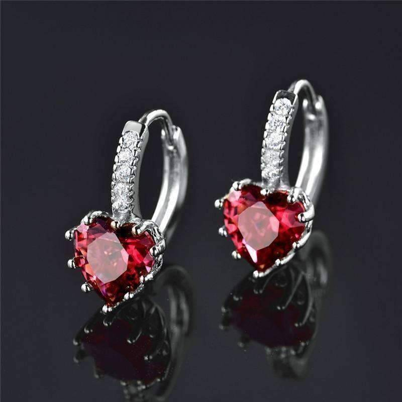Feshionn IOBI Earrings White Gold ON SALE - Heart Shaped Cabernet Red Diamond CZ Solitaire Hoop Earrings