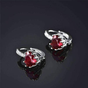04924e508761d CLEARANCE - Heart Shaped Cabernet Red Diamond CZ Solitaire Hoop Earrings