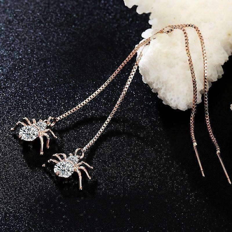 Feshionn IOBI Earrings Rose Gold ON SALE - Itsy Bitsy Spider Swiss CZ Thread Earrings in 18k Rose Gold