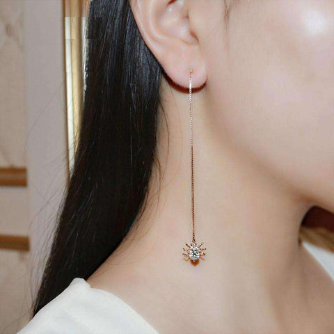 Feshionn IOBI Earrings ON SALE - Itsy Bitsy Spider Swiss CZ Thread Earrings in 18k Rose Gold