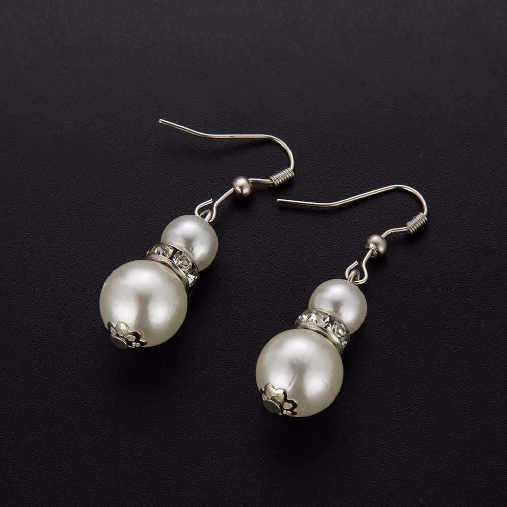 ON SALE - Ivory Pearl Bead and Crystal Accent Earrings