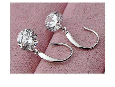 Feshionn IOBI Earrings ON SALE - Naked IOBI Crystals Drill Earrings In Silver