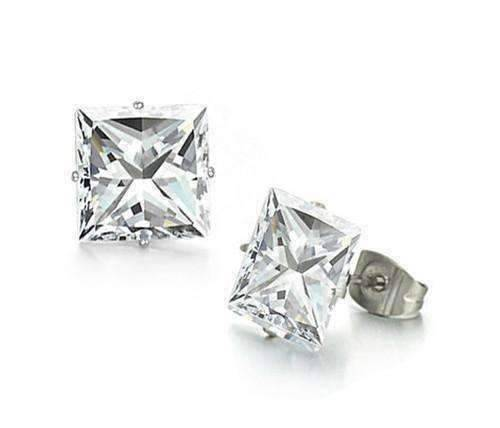 Feshionn IOBI Earrings 3mm / Stainless Steel ON SALE - Princess Cut Swiss Cubic Zirconia Stud Earrings Square 316 Stainless Steel