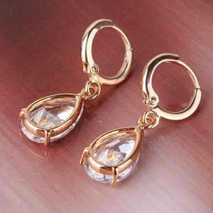 Feshionn IOBI Earrings ON SALE - Raindrop Diamond Dust Infused Dangling Earrings in Diamond White or Blushing Pink