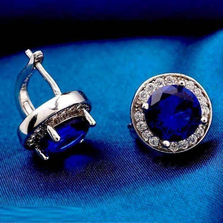 Feshionn IOBI Earrings Sapphire Blue ON SALE - Round Cut Halo Earrings in Five Elegant Colors