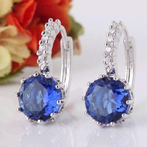 Feshionn IOBI Earrings ON SALE - Sapphire Blue Solitaire White Or Yellow Gold Hoop Earrings