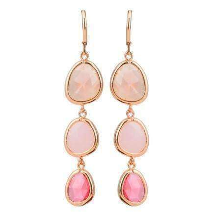 Feshionn IOBI Earrings Shades of Rose ON SALE - Shades Graduated Tri-Tone Dangling Crystal Lever Back Earrings ~ Five Colors to Choose