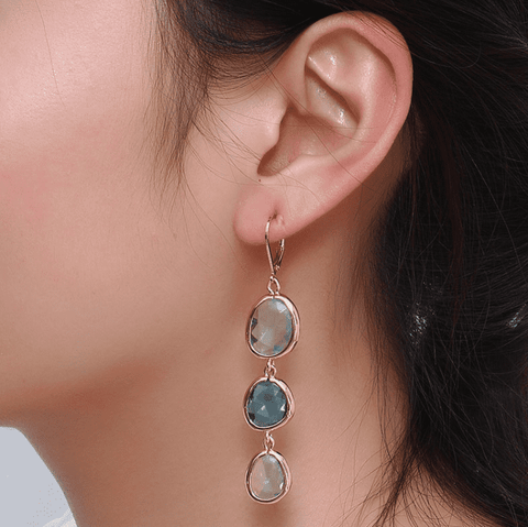 Feshionn IOBI Earrings ON SALE - Shades Graduated Tri-Tone Dangling Crystal Lever Back Earrings ~ Five Colors to Choose