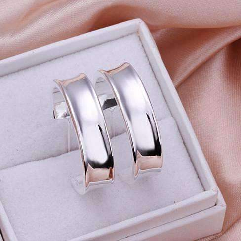 Silver Smooth Hoop Stud Earrings For Woman