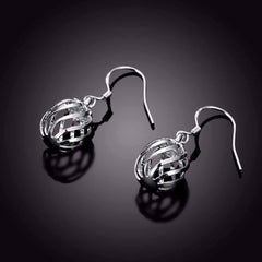 ON SALE - Silver Swirl Bead Dangling French Hook Earrings