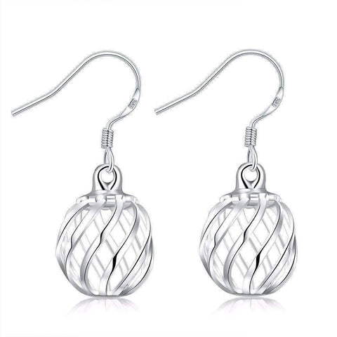 Feshionn IOBI Earrings ON SALE - Silver Swirl Bead Dangling French Hook Earrings