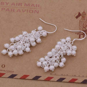 Feshionn IOBI Earrings ON SALE - Tiny Dangling Grape Beads Sterling Silver Earrings